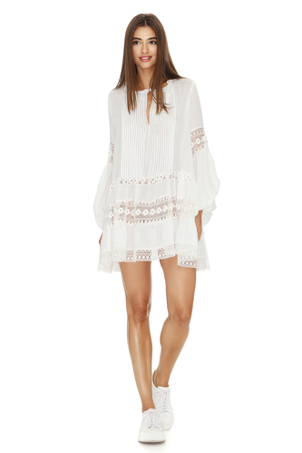 White Cotton Mini Dress With Lace Insertions - PNK Casual