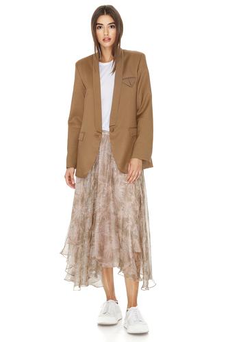 Printed Brown Silk Midi Skirt - PNK Casual
