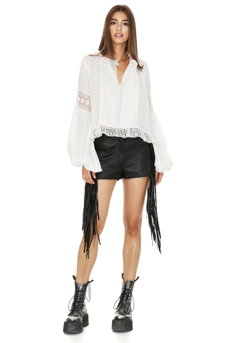 White Cotton blouse With Lace Insertions - PNK Casual