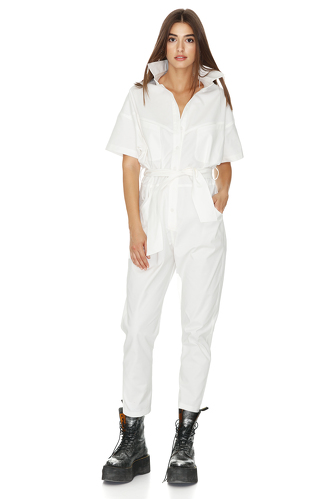 White Cotton Cropped Jumpsuit - PNK Casual