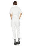 White Cotton Cropped Jumpsuit