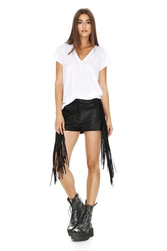 White Cotton Neckline T-shirt - PNK Casual