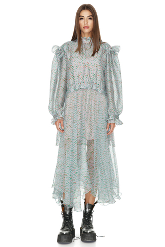 Printed Grey-Green Silk Midi Dress - PNK Casual