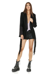 Black Wool-Viscose Cutout Blazer