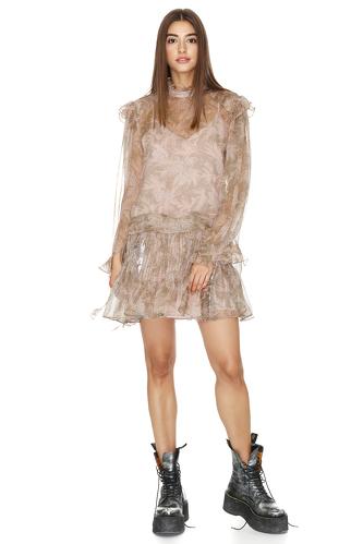 Ruffled Printed Silk Mini Dress - PNK Casual