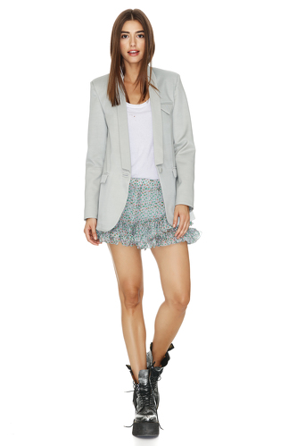 Printed Grey-Green Silk Shorts - PNK Casual