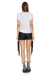 Black leather shorts with fringes