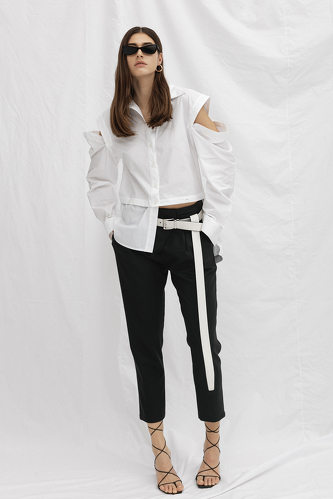 White Cutout Cotton Shirt - PNK Casual