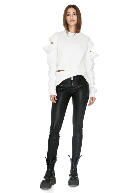 White Cutout Cotton Hoodie
