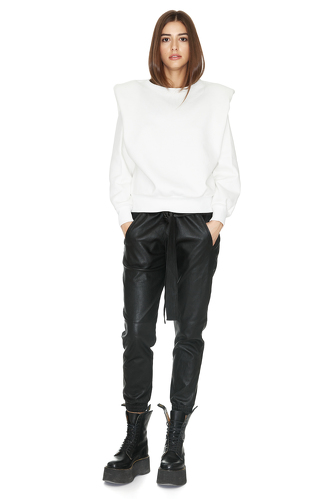 White Bumper With Oversized Shoulders - PNK Casual