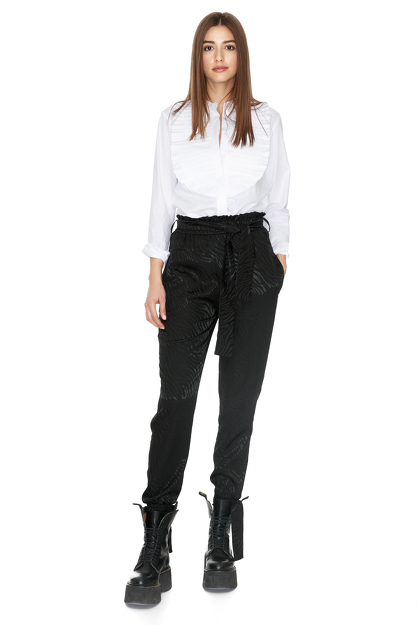 Pintucked Cotton-Poplin White Shirt