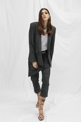 Grey Checkered Cutout Blazer - PNK Casual