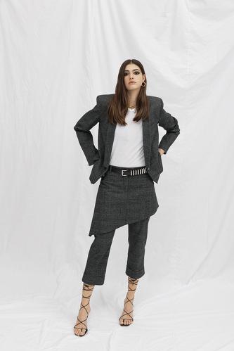Grey Skirt Layered Pants - PNK Casual