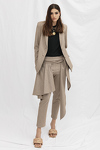 Beige Skirt Layered Pants