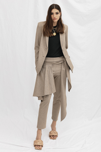 Beige Skirt Layered Pants - PNK Casual