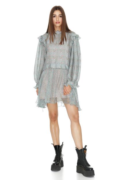 Printed Grey-Green Silk Mini Dress