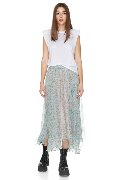 Printed Grey-Green Silk Midi Skirt
