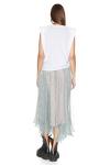 Printed Grey-Green Silk Midi Skirt