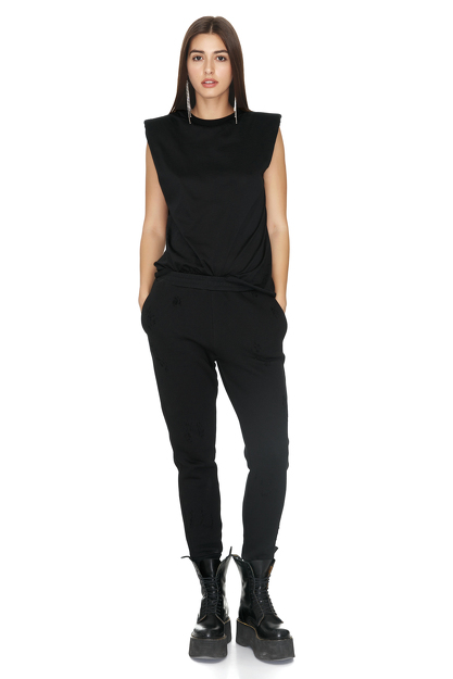 Black Top With Oversized Shoulders