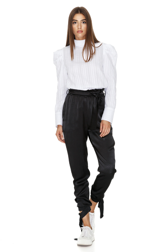 Tapered Viscose Pants With Elasticated hemline - PNK Casual