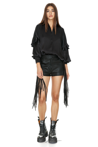 Black Ruffled Viscose Shirt - PNK Casual