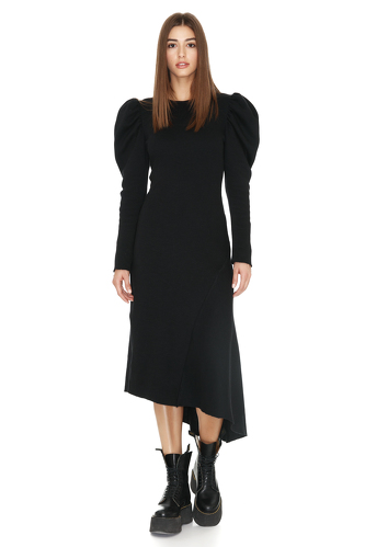 Ribbed Knit Cotton Oversized Shoulders Midi Dress - PNK Casual