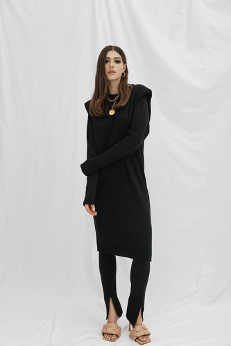 Ribbed Knit Cotton Black Dress - PNK Casual