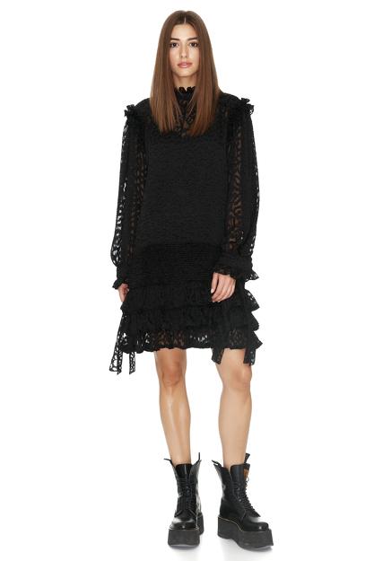 Ruffled Black Mini Dress