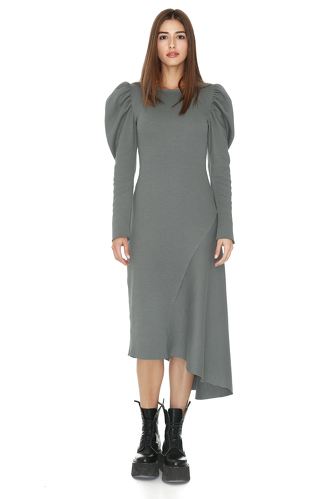 Kaki Ribbed Knit Oversized Shoulders Midi Dress - PNK Casual