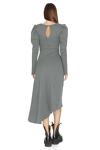 Kaki Ribbed Knit Oversized Shoulders Midi Dress