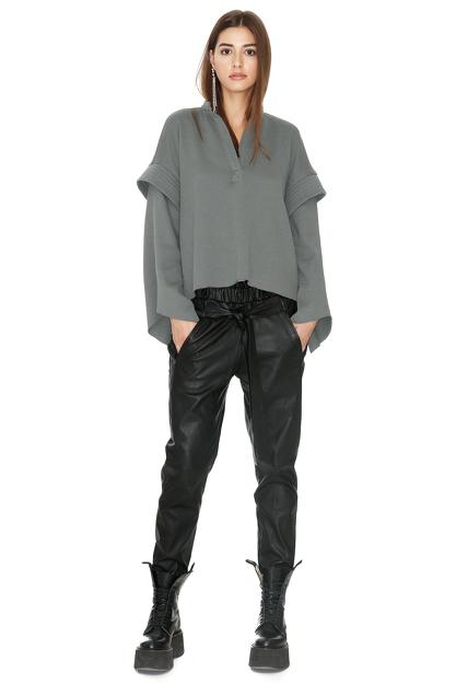 Kaki Ribbed Knit Oversized Sleeves Blouse