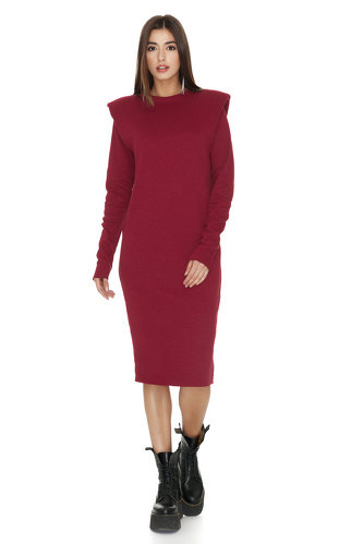Ribbed Knit Cotton Red Dress - PNK Casual