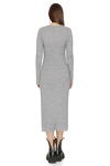 Grey Midi Dress With Front Detail