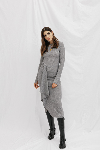 Grey Midi Dress With Front Detail - PNK Casual