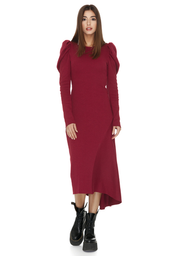 Red Ribbed Knit Oversized Shoulders Midi Dress - PNK Casual