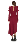 Red Ribbed Knit Oversized Shoulders Midi Dress