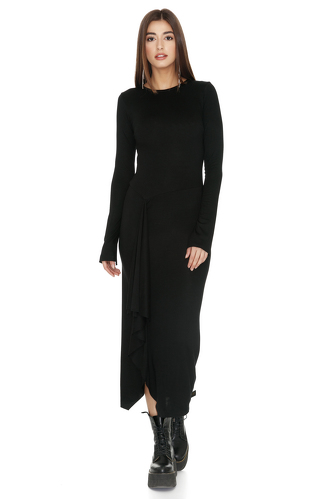 Black Midi Dress With Front Detail - PNK Casual