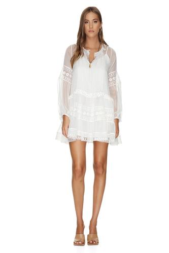 White Silk Chiffon Mini Dress - PNK Casual
