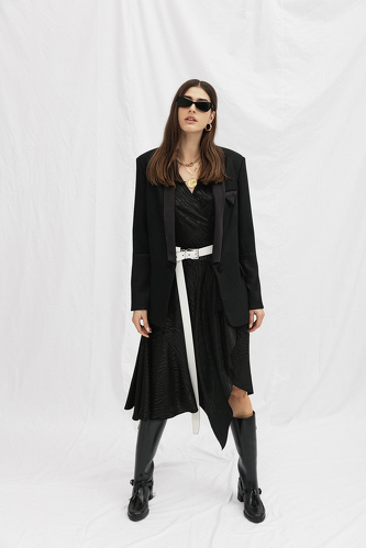 Black Wrap Midi Dress - PNK Casual