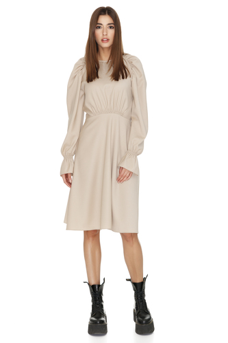 Beige Wool Dress With Long Sleeves - PNK Casual