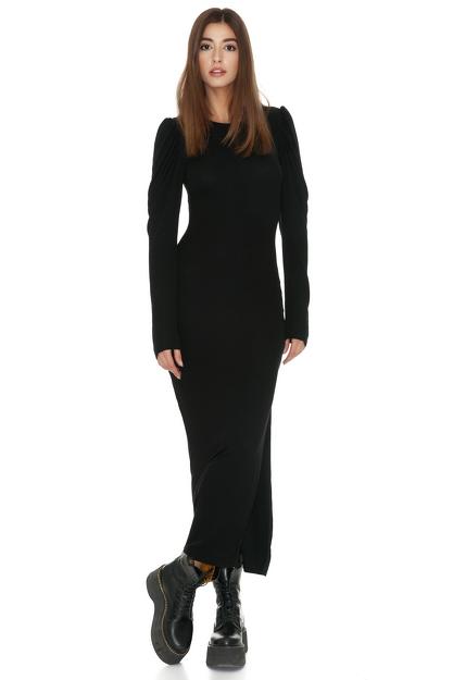 Ribbed Cotton Black Midi Side Slit Dress