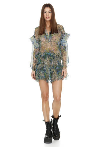 Printed Silk Dress With Ruffles And Long Sleeves - PNK Casual