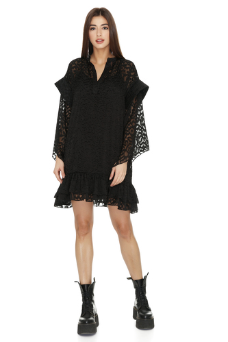Black Dress With Ruffles And Long Sleeves - PNK Casual