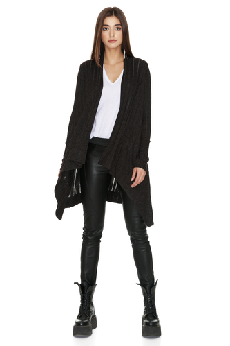 Fine Knit Asymmetrical Black Sweater - PNK Casual