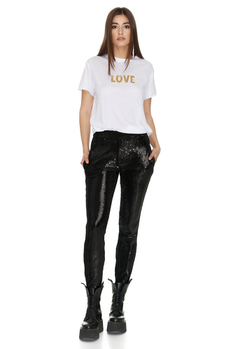 Black Tapered Sequin Pants - PNK Casual