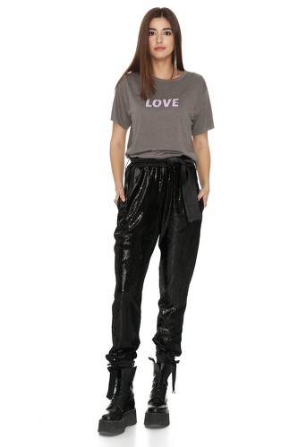 Black Sequin Pants With Elasticated hemline - PNK Casual