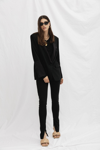 Stretchy Black Pants With Hidden Zipper - PNK Casual