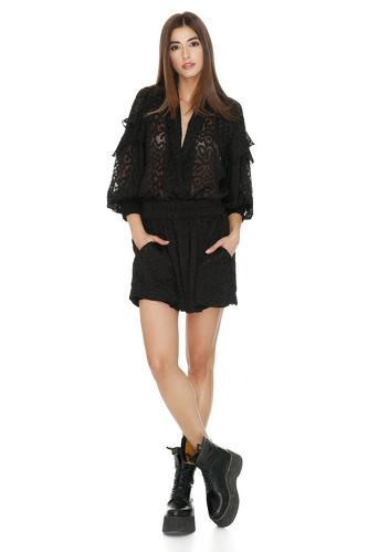 Black Mini Dress With Elasticated Waistband - PNK Casual
