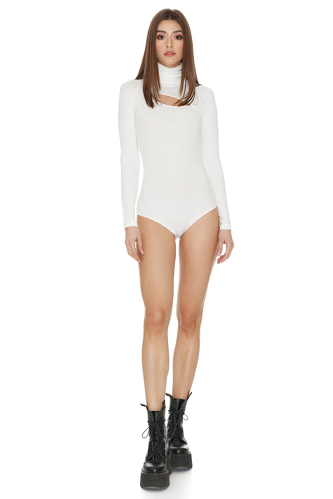 White Cotton Rib Bodysuit - PNK Casual