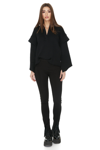 Black Ribbed Knit Oversized Sleeves Blouse - PNK Casual